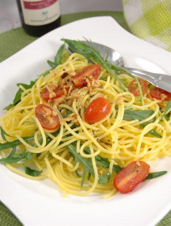 Glutenfreie Spaghetti di Rucola1
