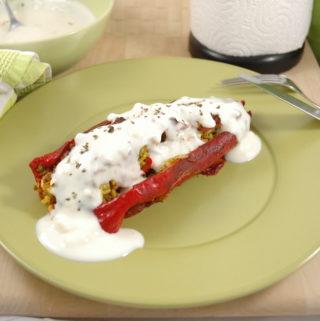 Arabisch gefüllte Spitzpaprika - vegan